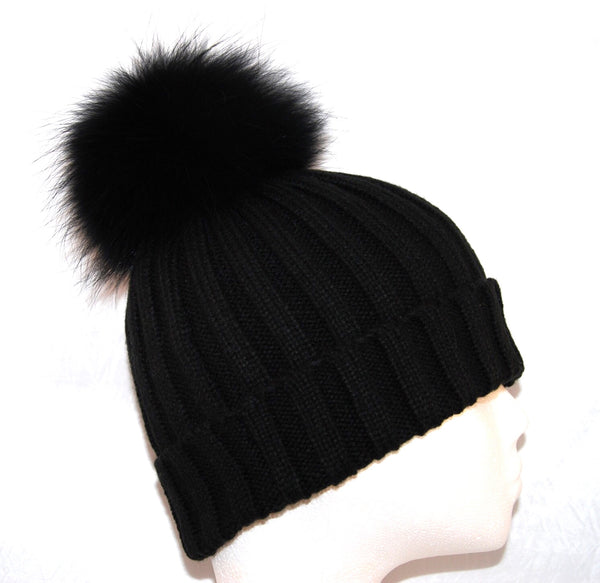 Black Raccoon Fur Bobble Hat - Matching Pom Pom - Poshpoms