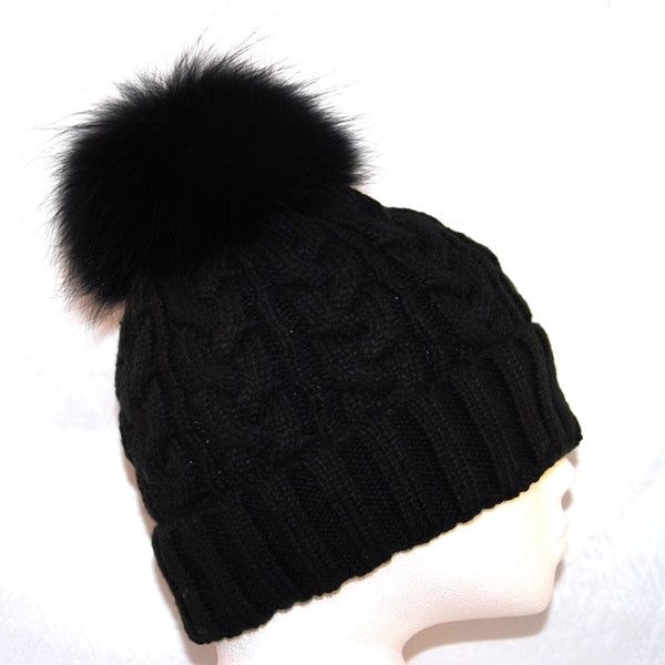 Black Cross Knit Raccoon Fur Bobble Hat - Matching Pom Pom - Poshpoms
