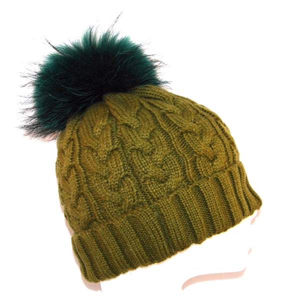 Khaki Cross Knit Raccoon Fur Bobble Hat - Matching Pom - Poshpoms