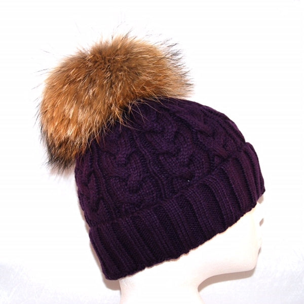 Purple Cross Knit Raccoon Fur Bobble Hat - Poshpoms
