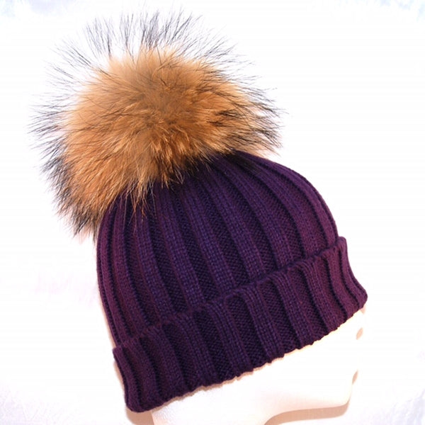 Purple Raccoon Fur Bobble Hat - Poshpoms