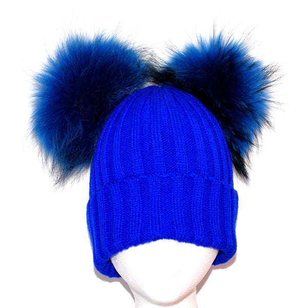 Electric Blue Double Pom Raccoon Fur Bobble Hat - Matching Pom Pom - Poshpoms