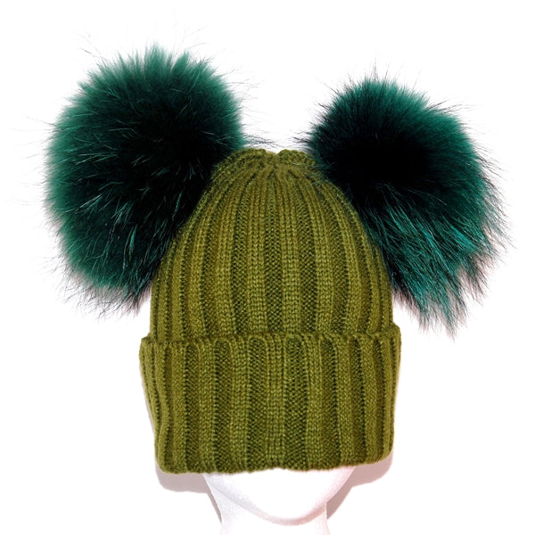 Khaki Double Pom Raccoon Fur Bobble Hat - Matching Pom Pom - Poshpoms