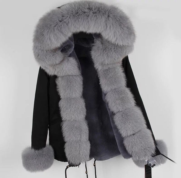 Black Fox Fur Fur collar Parka Coat - Grey Fox Fur - Poshpoms