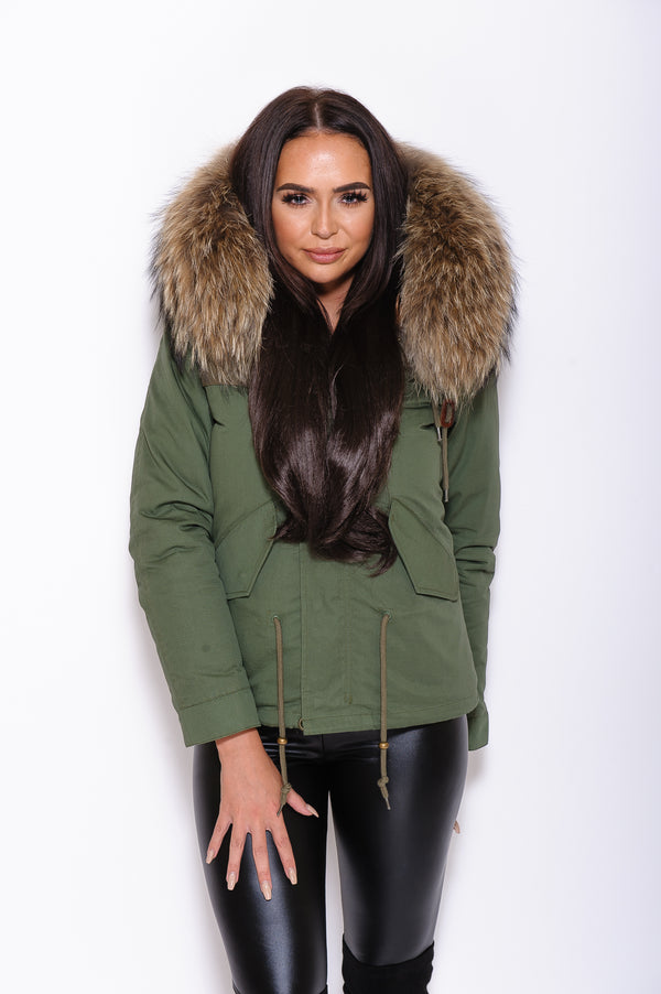 Natural Raccoon Fur collar Parka Coat - Poshpoms