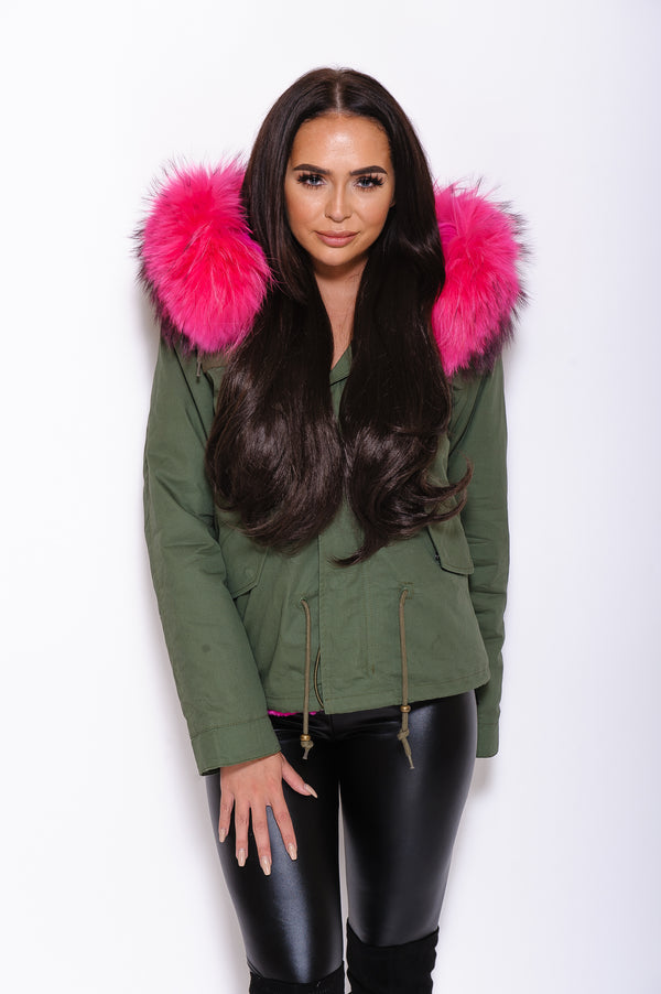 Pink Raccoon Fur collar Parka Coat - Poshpoms