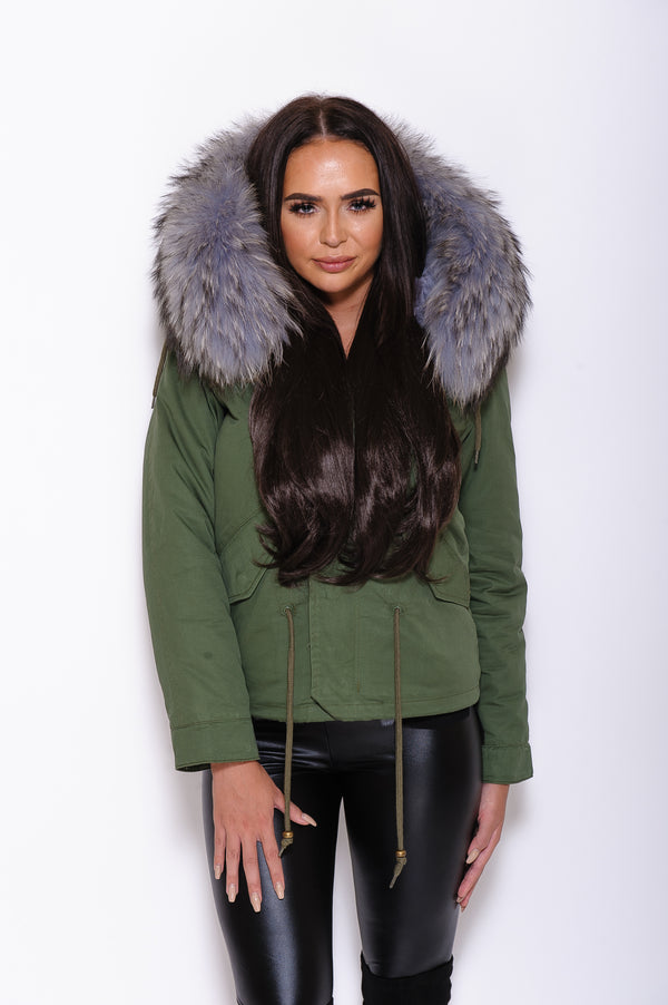 Grey Raccoon Fur collar Parka Coat - Poshpoms