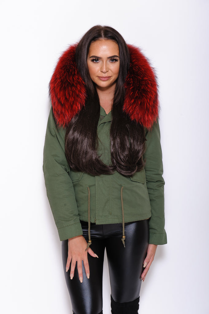 Red Raccoon Fur collar Parka Coat - Poshpoms