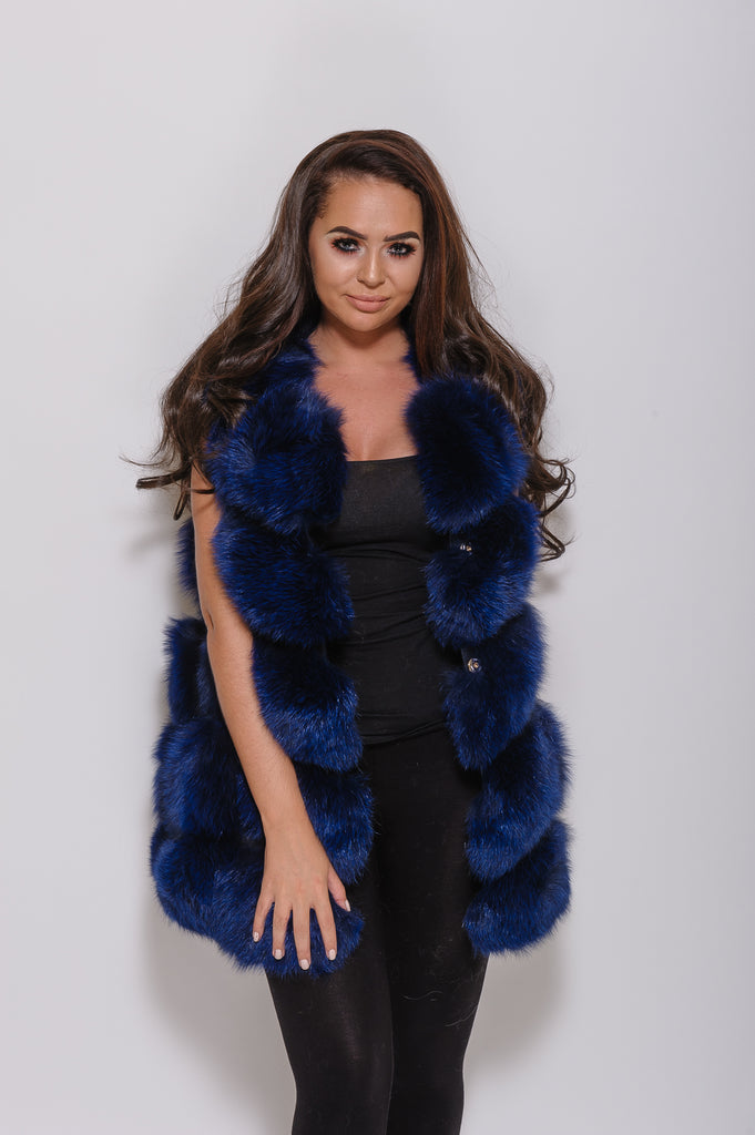 Navy Fox Fur Gilet - Poshpoms