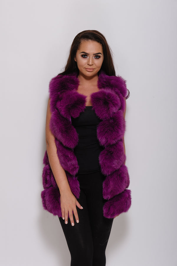 Purple Fox Fur Gilet - Poshpoms