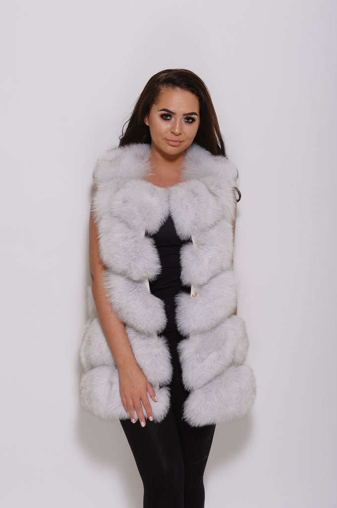 Natural White Fox Fur Gilet - Poshpoms