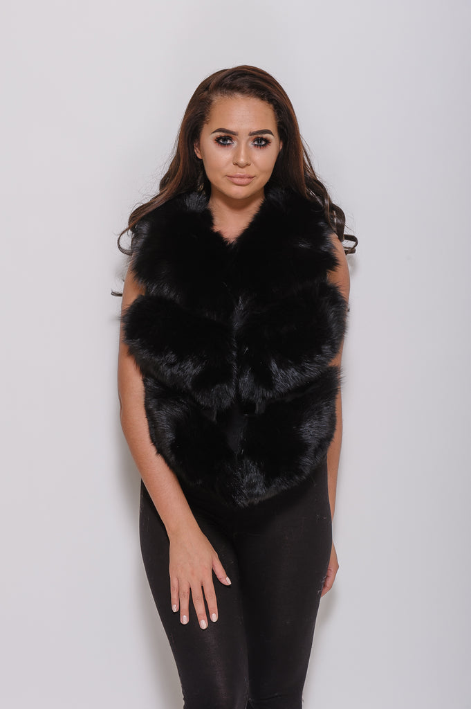 Black Minature Fox Fur Gilet - Poshpoms