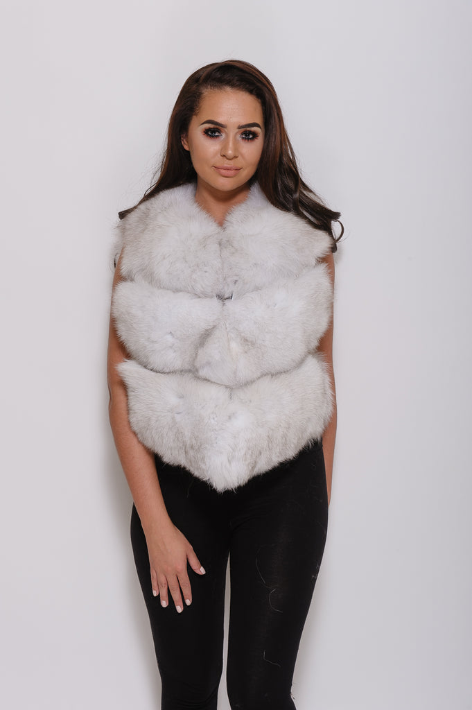 Natural White Minature Fox Fur Gilet - Poshpoms