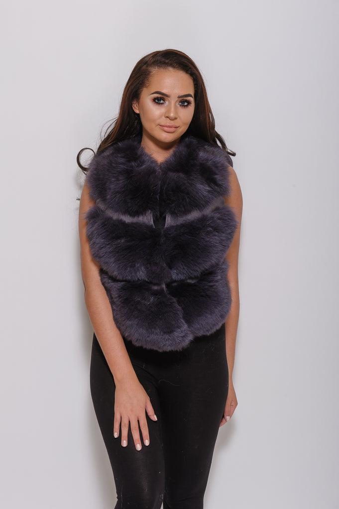 Dark Grey Minature Fox Fur Gilet - Poshpoms