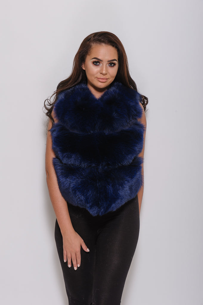 Navy Minature Fox Fur Gilet - Poshpoms
