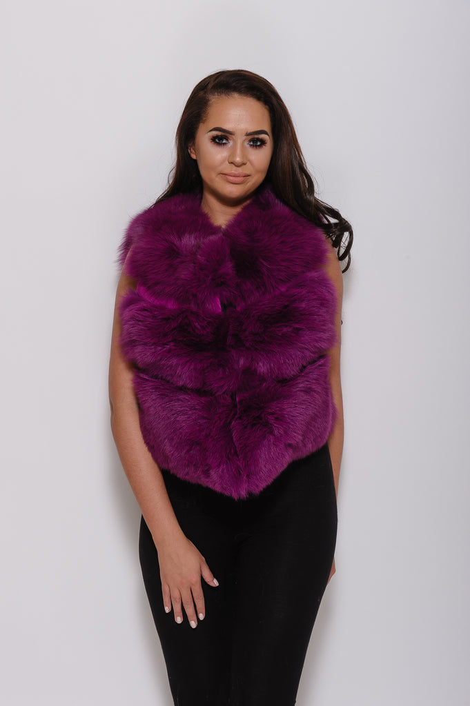 Purple Minature Fox Fur Gilet - Poshpoms
