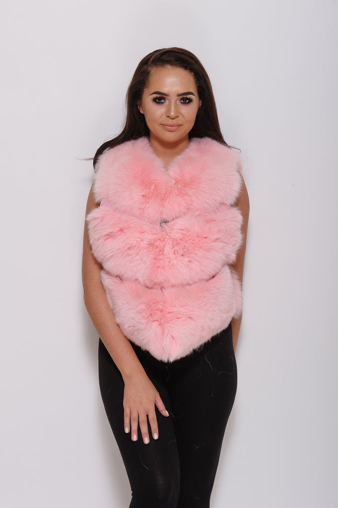 Baby Pink Minature Fox Fur Gilet - Poshpoms