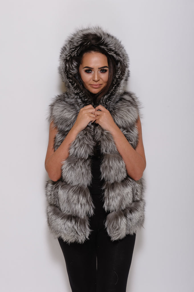 Natural Silver Hooded Fox Fur Gilet - Poshpoms