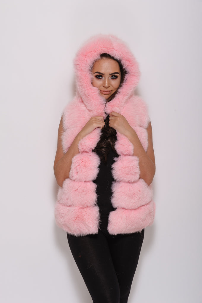 Baby Pink Hooded Fox Fur Gilet - Poshpoms