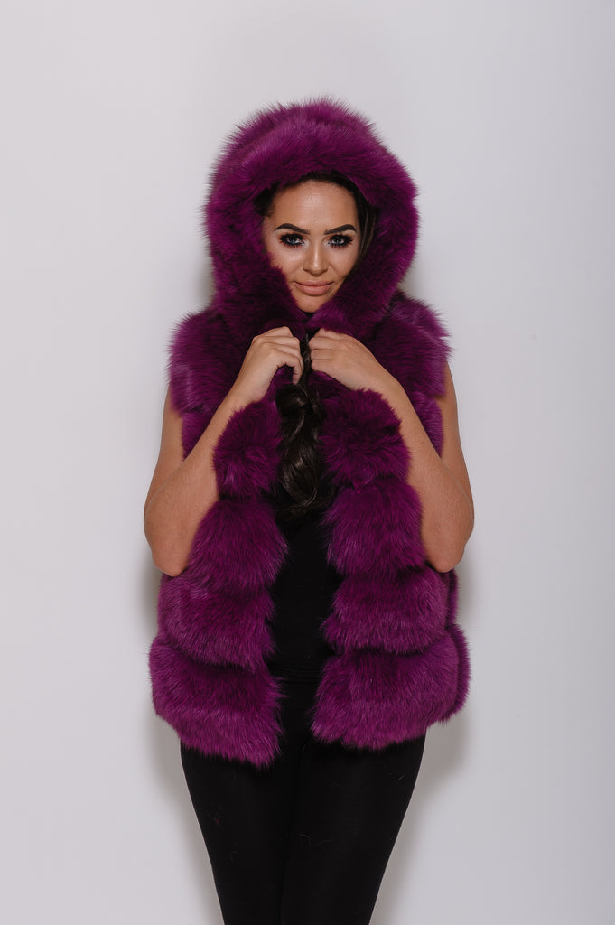 Purple Hooded Fox Fur Gilet - Poshpoms