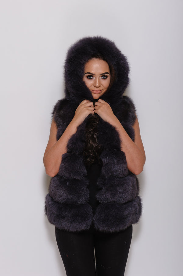 Dark Grey Hooded Fox Fur Gilet - Poshpoms