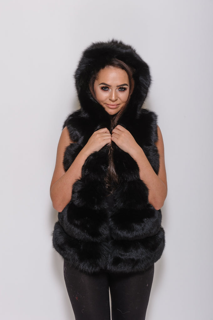 Black Hooded Fox Fur Gilet - Poshpoms