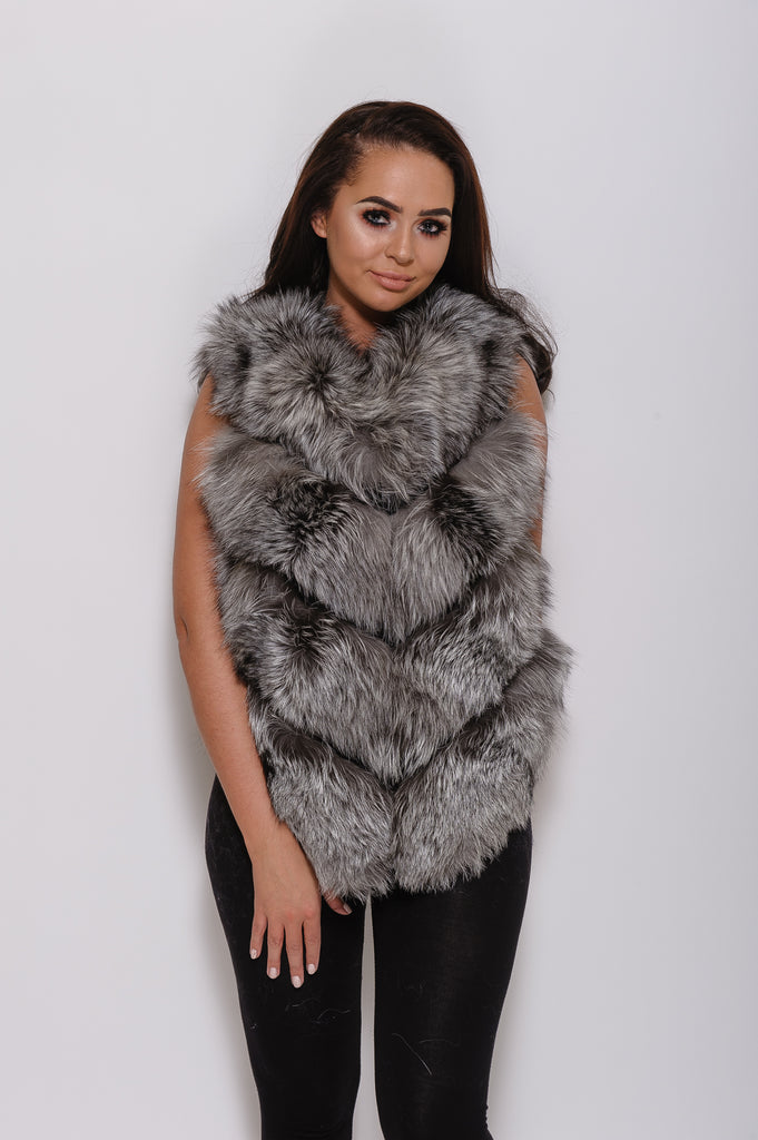 Natural Silver Short Fox Fur Gilet - Poshpoms