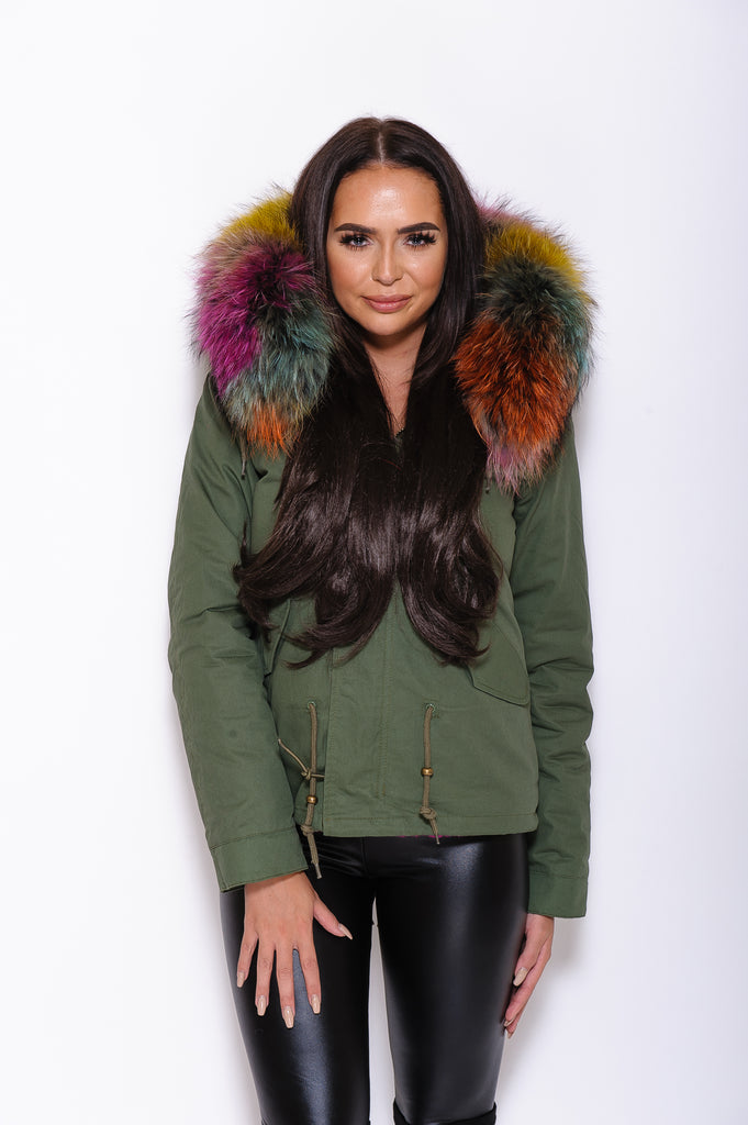Multi Raccoon Fur collar Parka Coat - Poshpoms