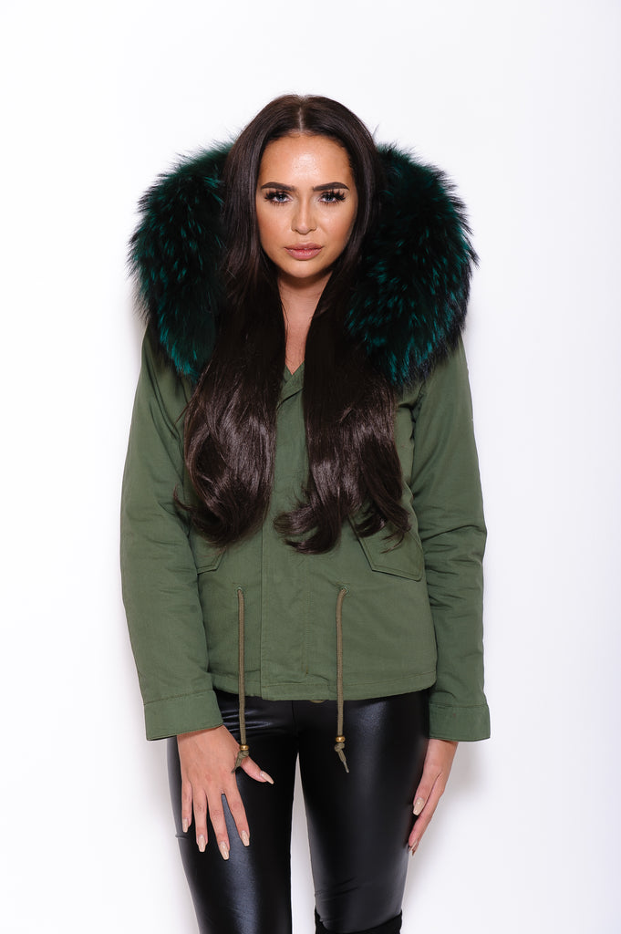Emerald Raccoon Fur collar Parka Coat - Poshpoms