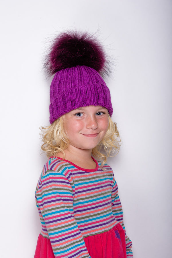 Purple Children's Raccoon Fur Bobble Hat - Matching Pom - Poshpoms
