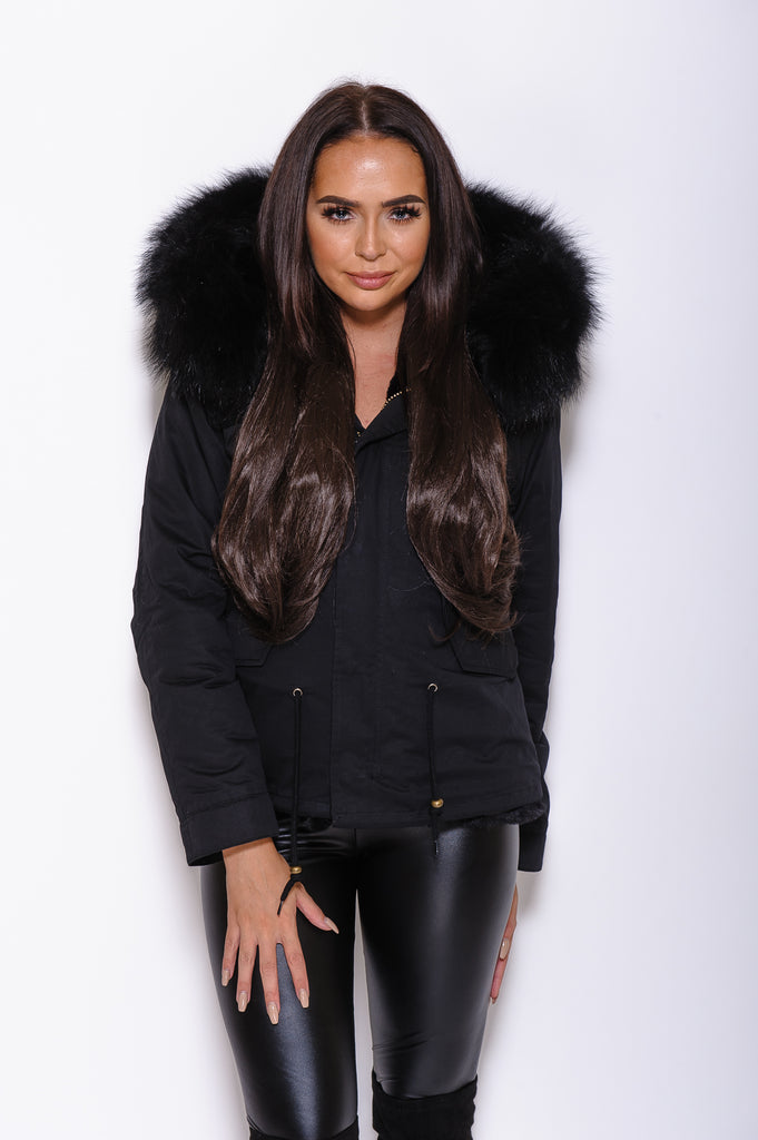 Black Raccoon Fur collar Parka Coat - Matching Fur - Poshpoms