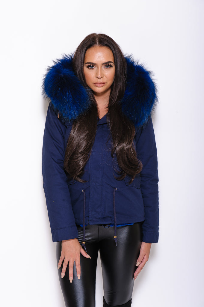 Navy Raccoon Fur collar Parka Coat  - Matching Fur - Poshpoms