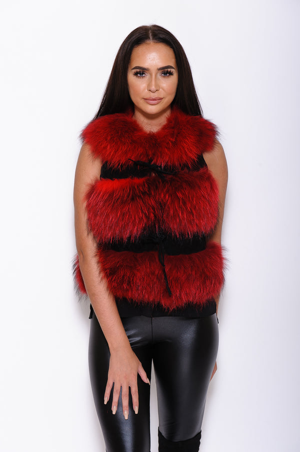 Red Raccoon Fur Gilet - Poshpoms