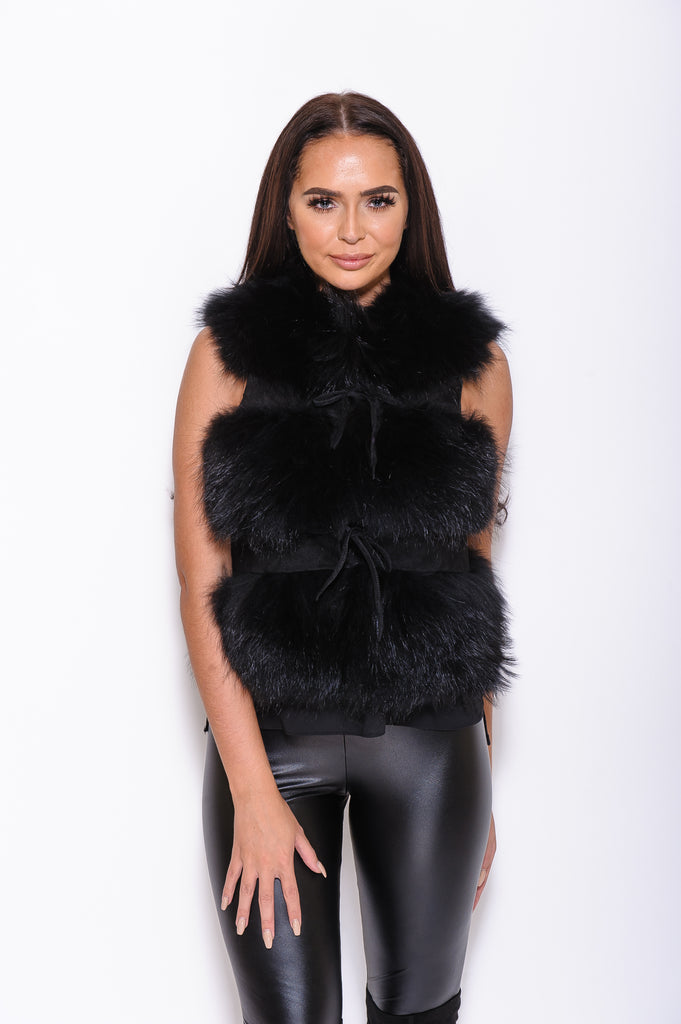 Black Raccoon Fur Gilet - Poshpoms
