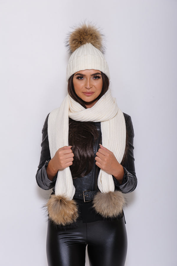 White Raccoon Fur Scarf - Poshpoms