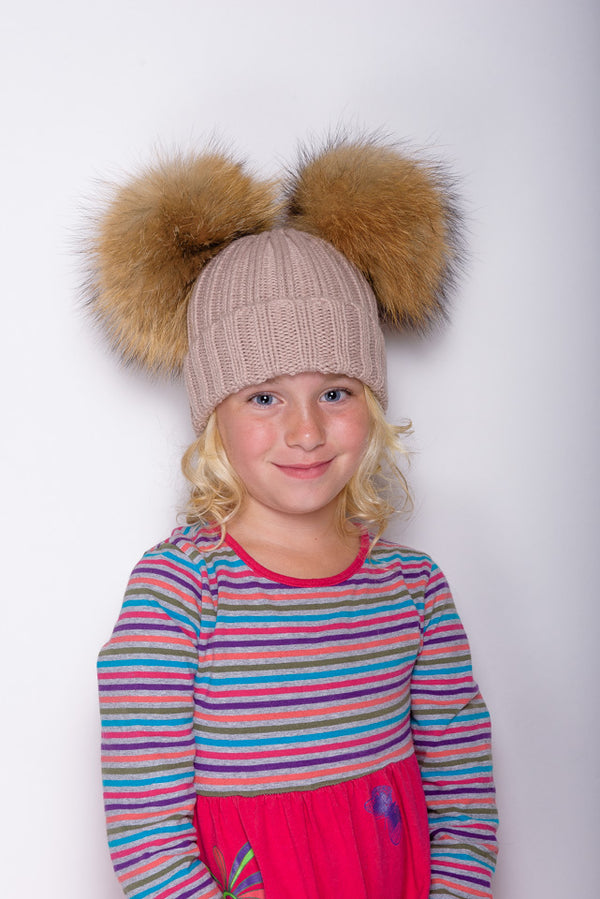 Beige Double Children's Raccoon Fur Bobble Hat - Poshpoms