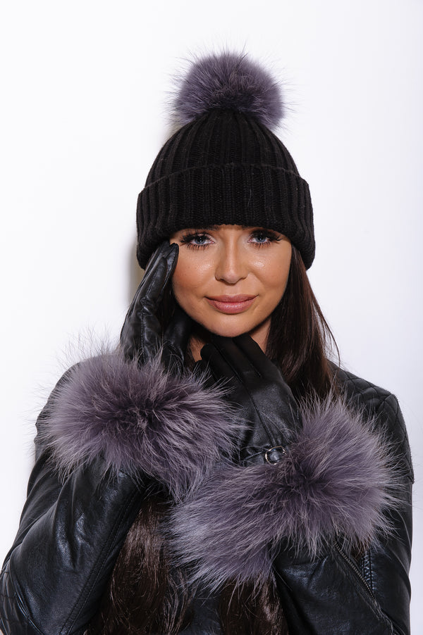 Black Leather Raccoon Fur Gloves - Grey Fur - Poshpoms