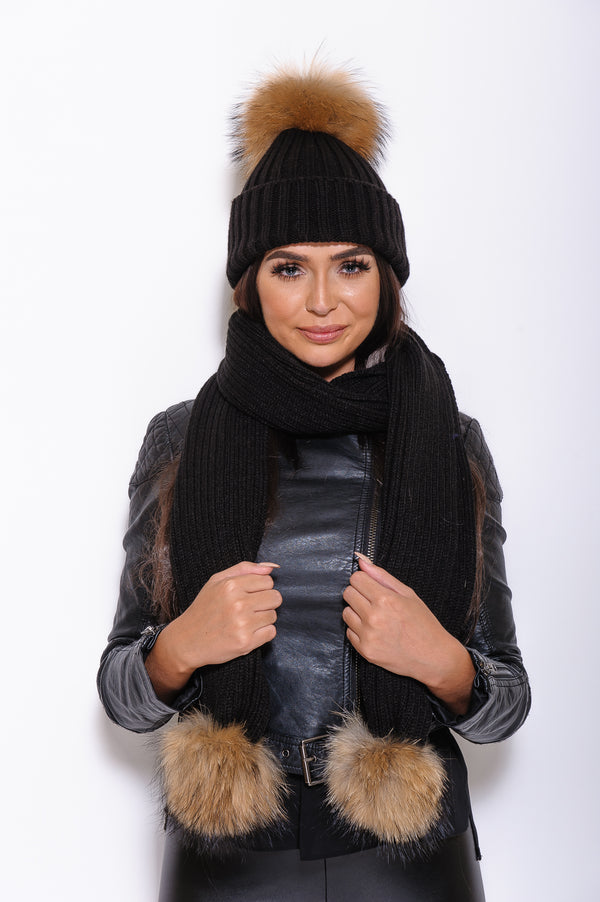 Black Raccoon Fur Scarf - Poshpoms