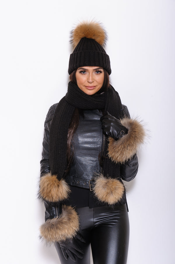 Black Leather Raccoon Fur Gloves - Natural Fur - Poshpoms