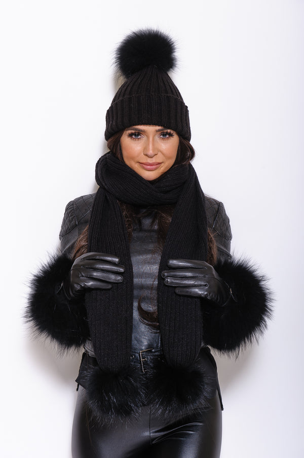 Black Matching Raccoon Fur Scarf - Poshpoms