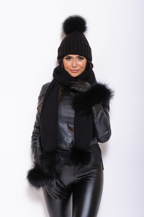 Black Leather Raccoon Fur Gloves - Black Fur - Poshpoms