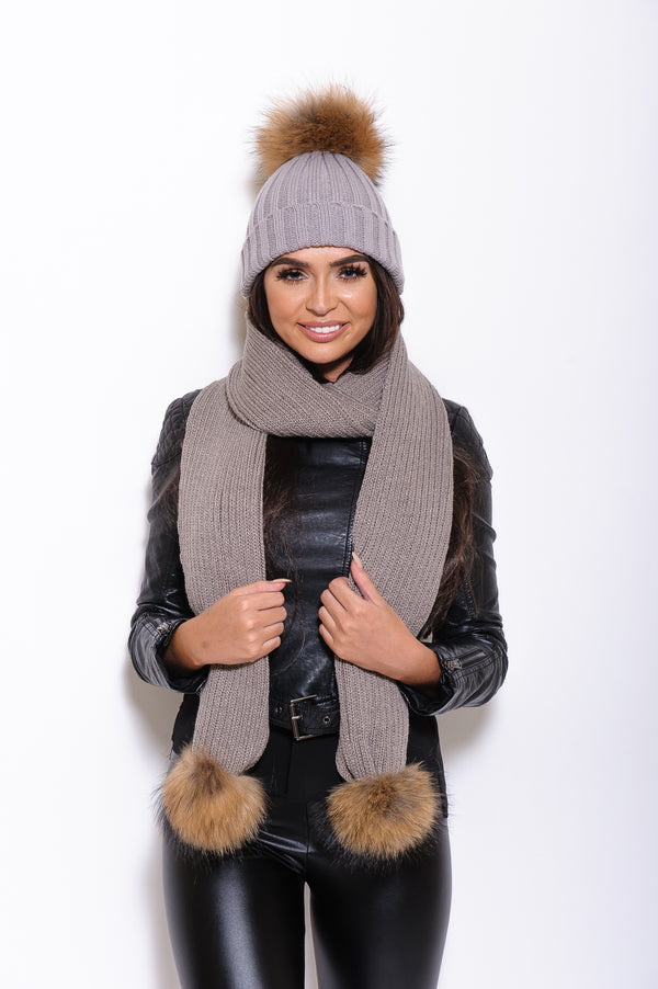 Light Grey Raccoon Fur Scarf - Poshpoms