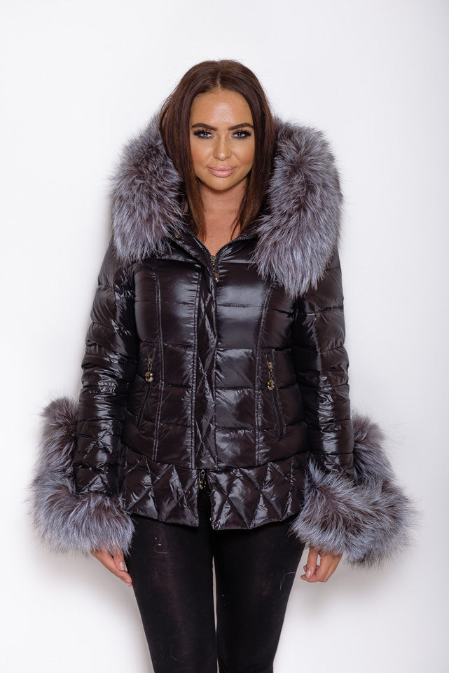 Black Fox Down Coat - Natural Silver Fur - Poshpoms
