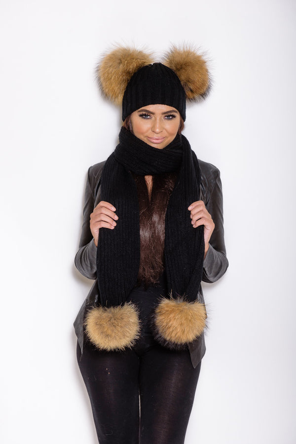 Black Double Pom Natural Raccoon Fur Gift Set - Poshpoms