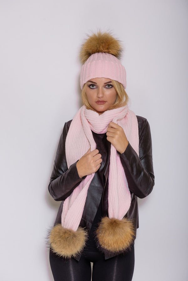 Baby Pink Natural Raccoon Fur Gift Set - Poshpoms