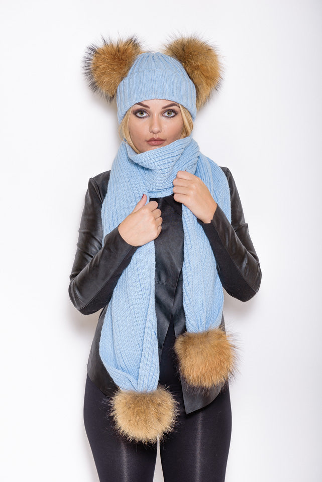 Light Blue Double Pom Natural Raccoon Fur Gift Set - Poshpoms