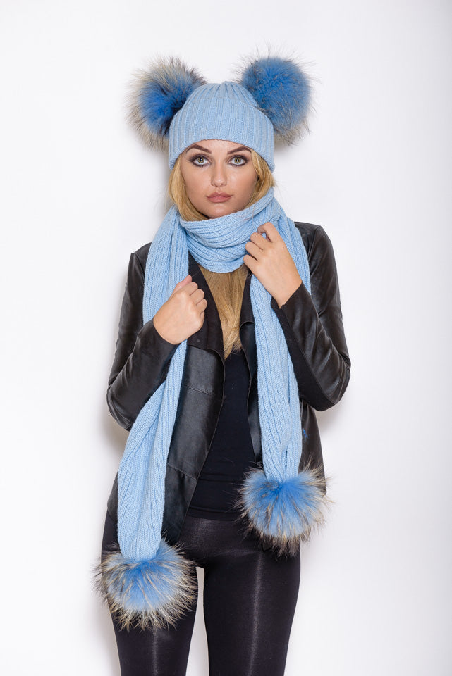 Light Blue Double Matching Raccoon Fur Gift Set - Poshpoms