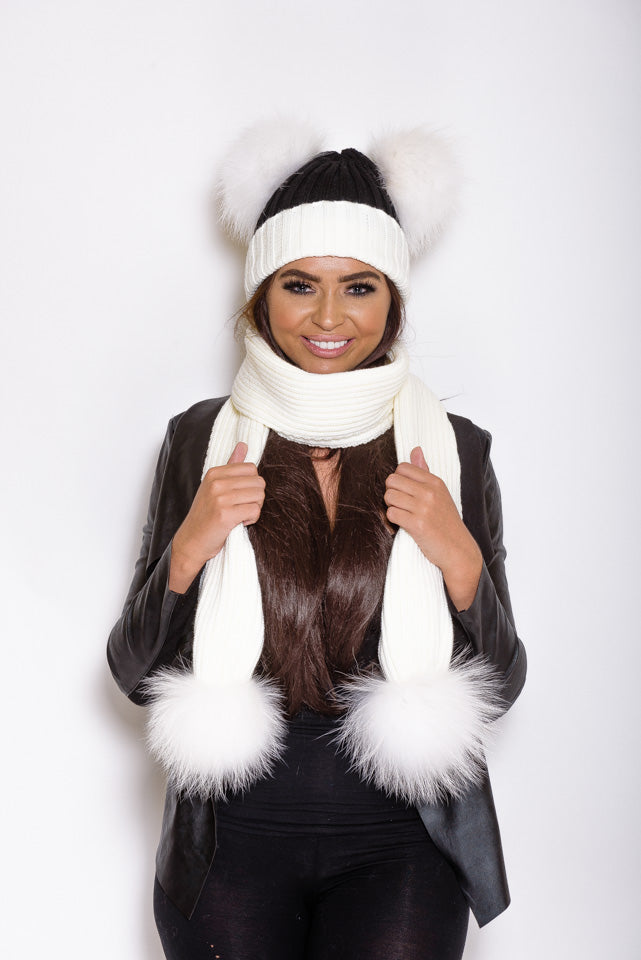 White & Black Double Matching Raccoon Fur Gift Set - Poshpoms