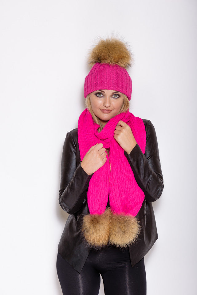 Pink Natural Raccoon Fur Gift Set - Poshpoms
