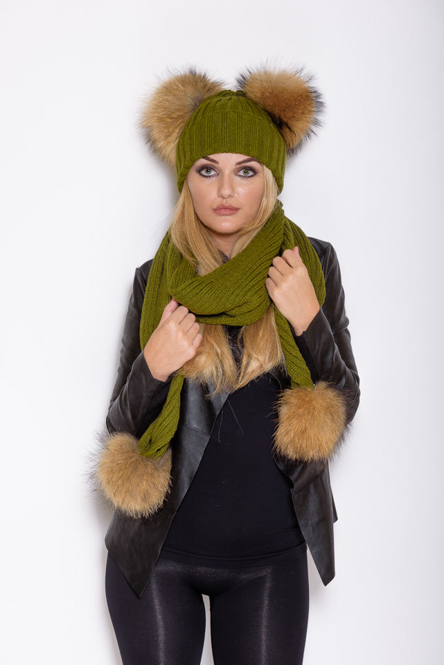 Khaki Natural Double Pom Raccoon Fur Gift Set - Poshpoms